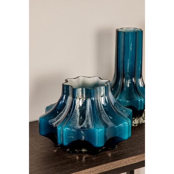 Contemporary 7 x 10 Inch Blue Faceted Glass Vase