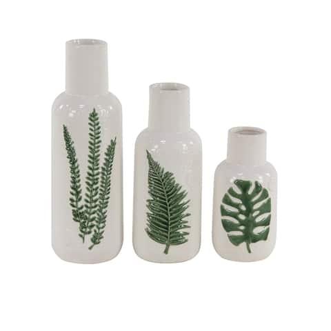 Set of 3 Modern 10, 12 and 15 Inch Bottle-Shaped Stoneware Vases