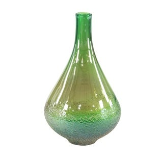 Eclectic 16 x 9 Inch Green Handmade Glass Bud Vase