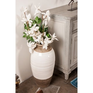 Modern 25 x 12 Inch Bud-Shaped Ceramic Vase