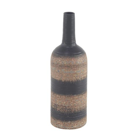 Traditional 18 x 6 Inch Bottle-Shaped Stoneware Vase