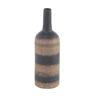 Traditional 18 x 6 Inch Bottle-Shaped Stoneware Vase