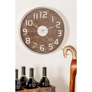 Rustic 18 x 18 Inch Round Wall Clock