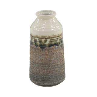 Contemporary 10 x 5 Inch White and Brown Stoneware Decorative Vase