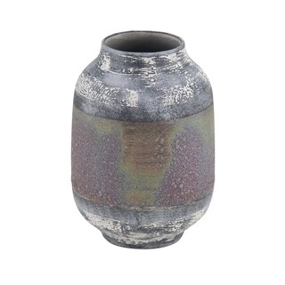 Eclectic 11 x 8 Inch Distressed Gray Stoneware Decorative Vase