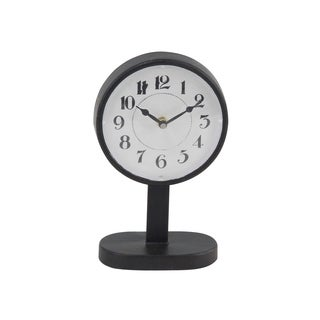 The Gray Barn Milford Haven Modern Round Black Iron Table Clock