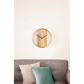 Modern 16 Inch Small Stainless Steel and Wood Plank Round Wall Clock