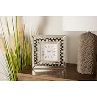 Modern 10 x 10 Inch Wood and Mirror Square Analog Table Clock