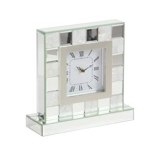 Modern 11 x 11 Inch Wood and Mirror Analog Table Clock