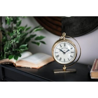 Rustic 7 x 5 Inch Gold Iron Round Analog Table Clock