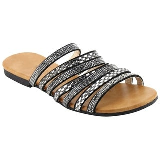 Beston EL83 Women's Easy Slip On Backless Strappy Flat Slide Sandals