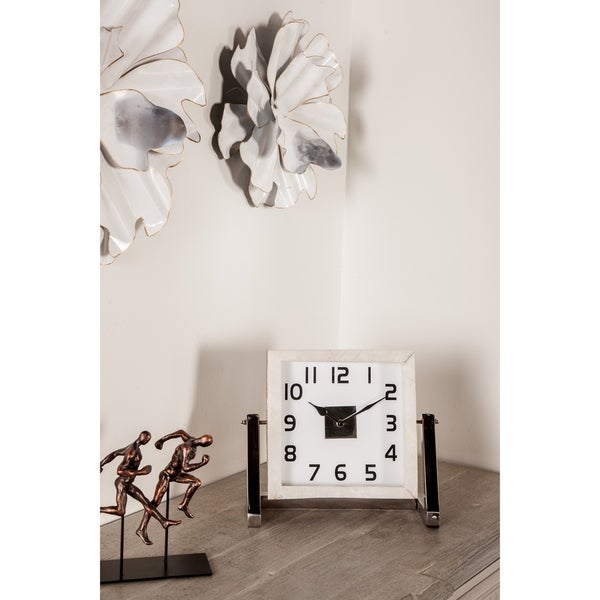 Modern 10 x 12 Inch Square White Analog Table Clock