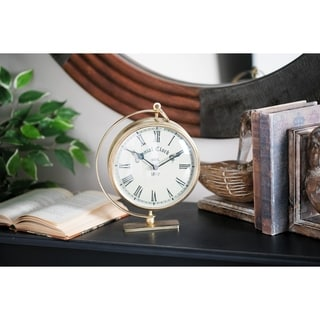 Rustic 6 x 7 Inch Gold Iron Round Analog Table Clock by Studio 350