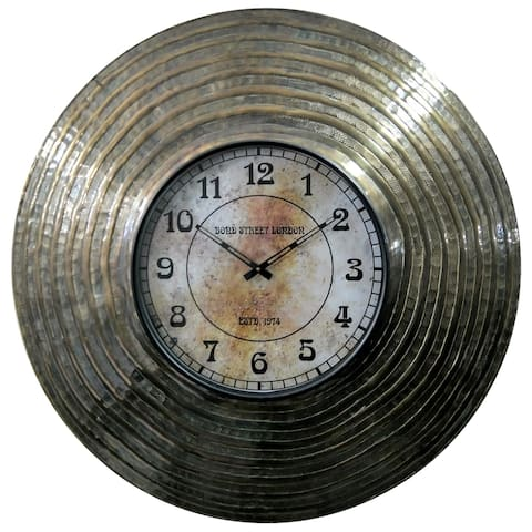 Rustic 32 Inch Round Brass Aluminum and Wood Analog Wall Clock