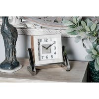 Modern 8 x 8 Inch Square White Analog Table Clock by Studio 350