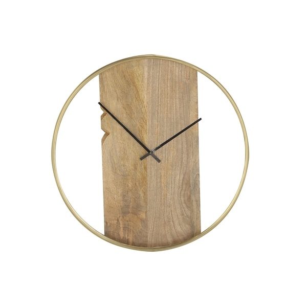 Modern 24 Inch Large Stainless Steel And Wood Plank Round Wall Clock