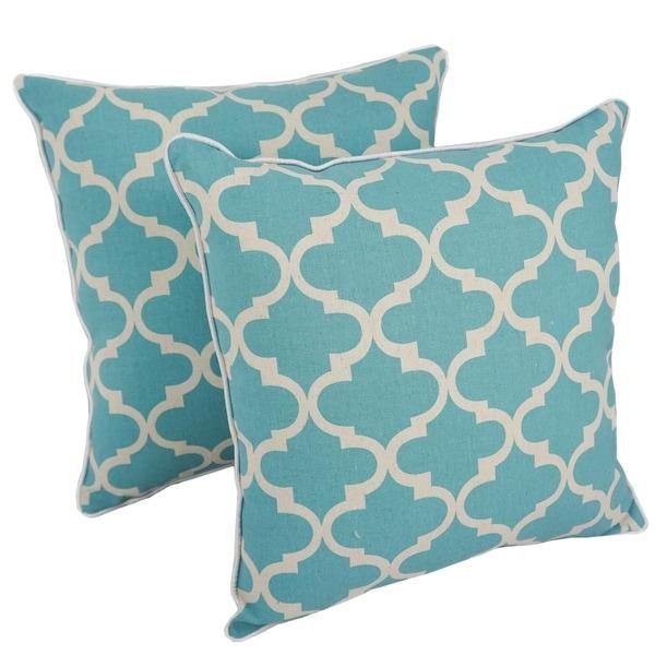 Blazing Needles 18-inch Blue Lattice Throw Pillow (Set of 2)