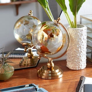 """Small Gold Metal & Glass Globe with Topographical Map in Axis Frame 6"""" x 11"""""""