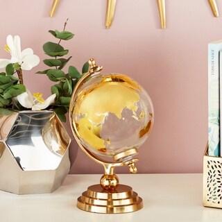 Modern 13 x 8 Inch Gold Glass and Aluminum Globe Decor