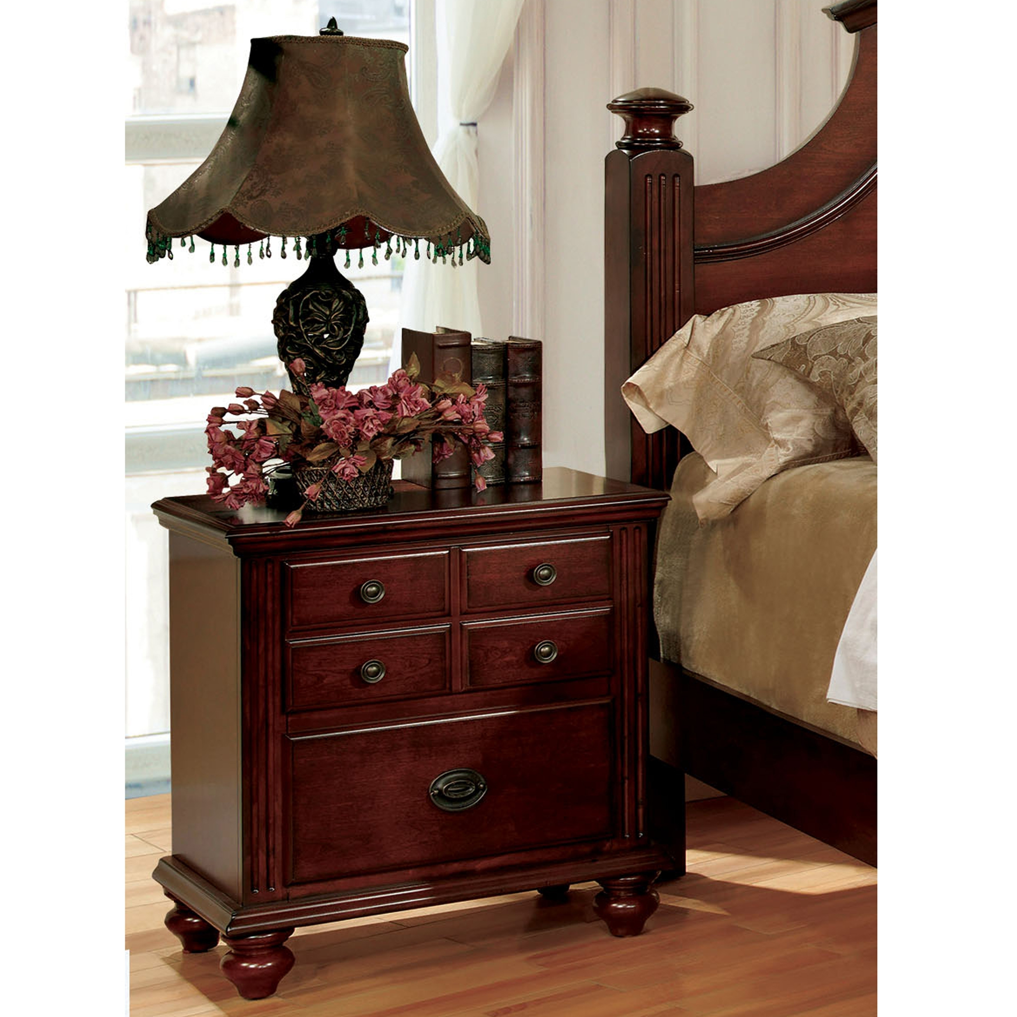 Furniture Of America Sibu European Cherry Solid Wood Nightstand