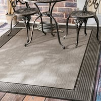 Copper Grove Portumna Two-Tone Border Indoor/ Outdoor Grey Porch Area Rug (8'6 x 13') - 8'6 x 13'