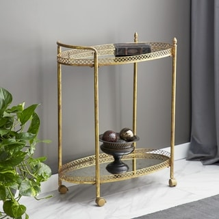 The Curated Nomad Powell Distressed Gold Brass Oval Tea Roll Cart