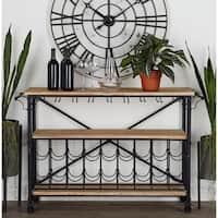 Carbon Loft Daniel Metal and Wood Wine Rack Table Cart Combination