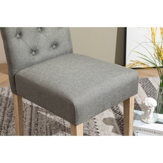 Copper Grove  Schwalbach Wood Tufted Parsons Dining Chairs (Set of 2) (Grey)