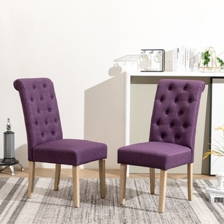 Copper Grove  Schwalbach Wood Tufted Parsons Dining Chairs (Set of 2) (Purple)