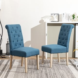 Copper Grove  Schwalbach Wood Tufted Parsons Dining Chairs (Set of 2) (Blue)