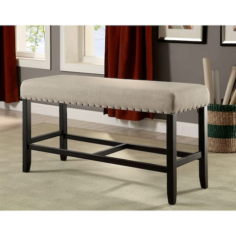 Furniture of America Tays Rustic Black Linen Fabric Counter Bench