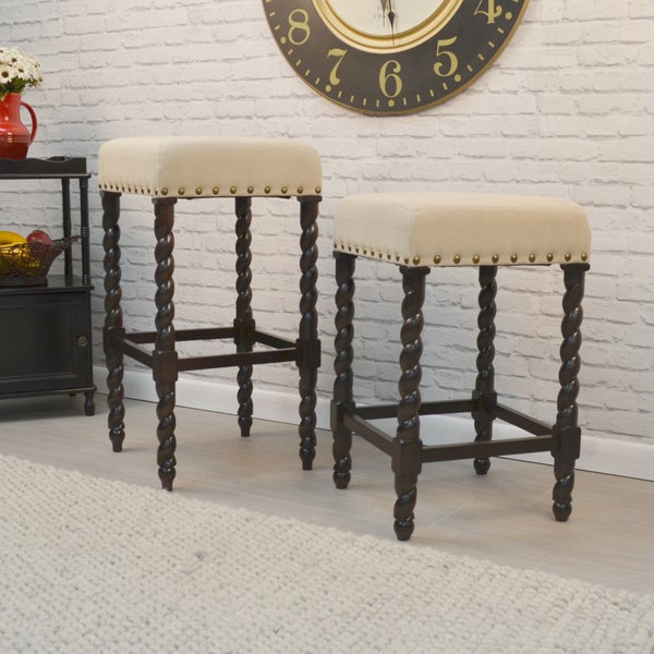 Gracewood Hollow Antoine Cream Linen and Espresso Wood Twisted Leg Bar Stool. Opens flyout.