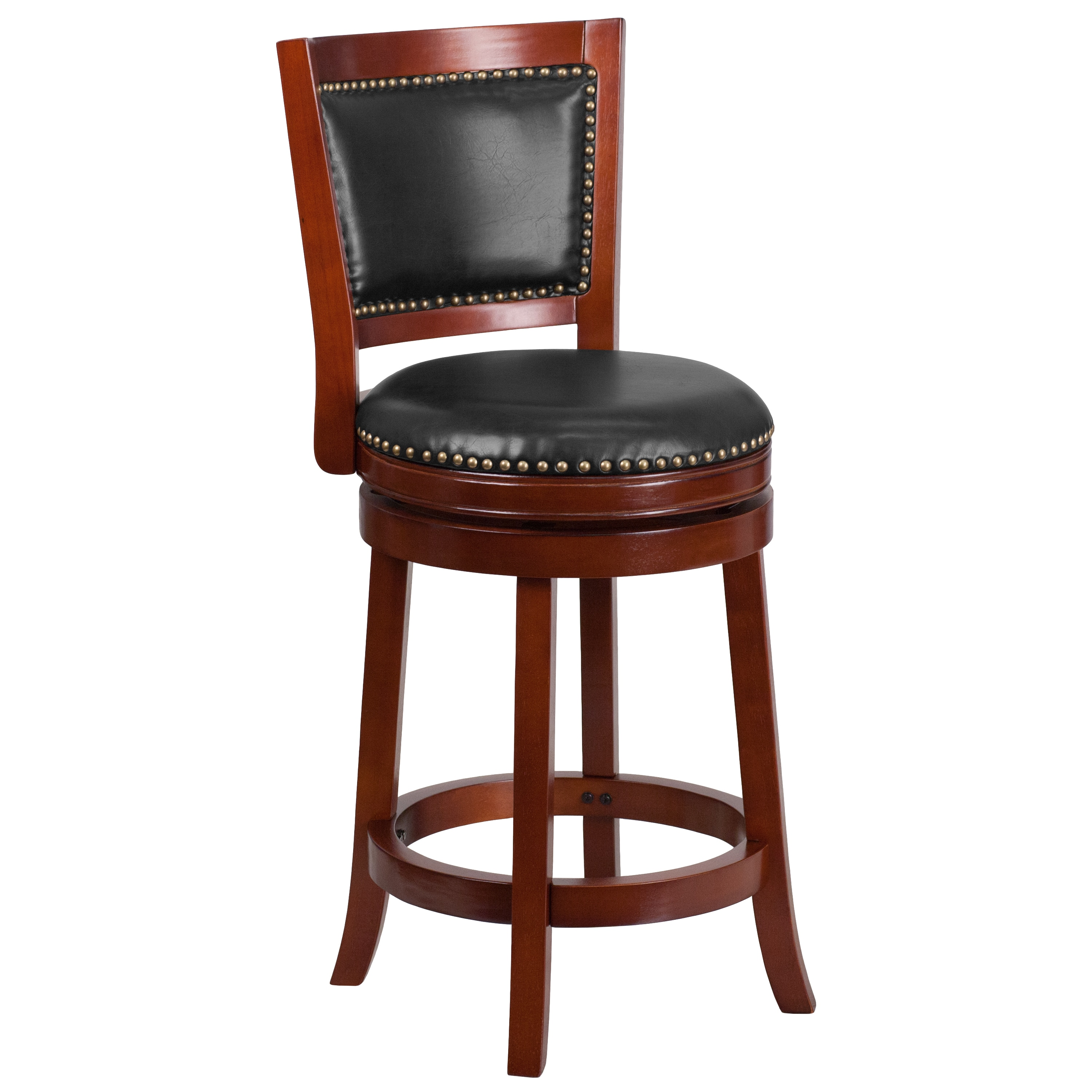Copper Grove Blackmuir 26 Inch High Wood Counter Height Stool With Leather  Swivel Seat