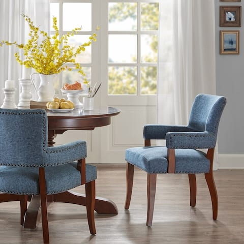 Copper Grove Cobleland Blue Arm Dining Chair