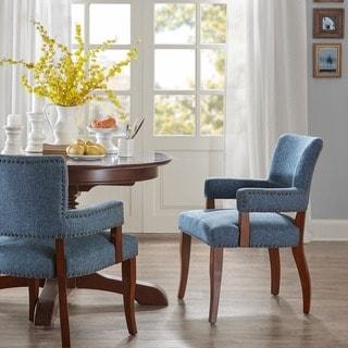 "Link to Copper Grove Cobleland Blue Arm Dining Chair - 24""w x 25.5""d x 35""h - 24""w x 25.5""d x 35""h Similar Items in Dining Room & Bar Furniture"
