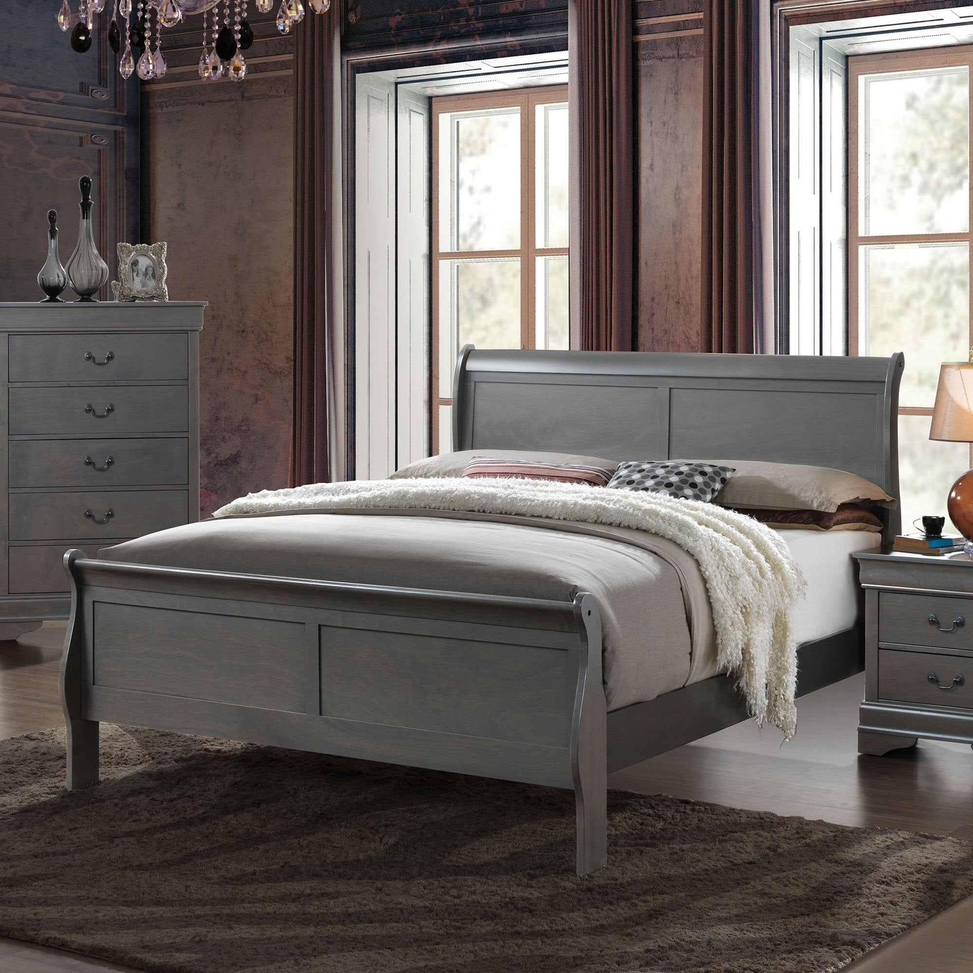 - Shop Furniture Of America Devi Contemporary Grey Solid Wood Sleigh