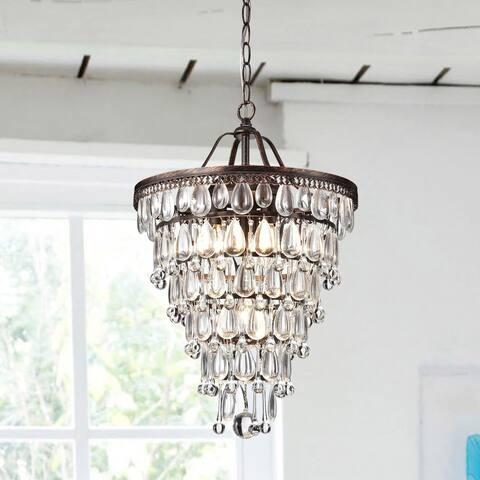 Cone Shape 4-light Antique Copper Crystal Chandelier
