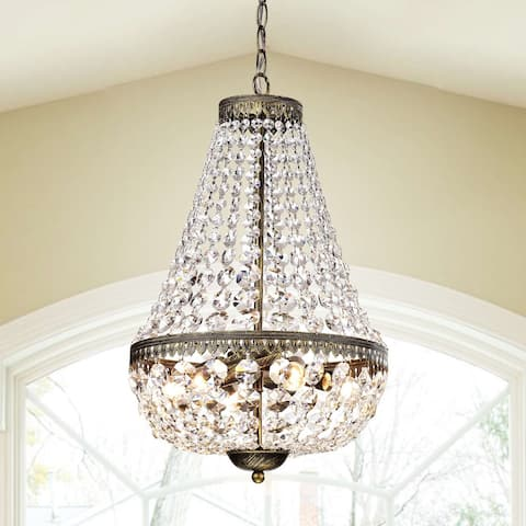 Gracewood Hollow Poradeci Symmetric Crystal Antique Brushed Black Copper Chandelier