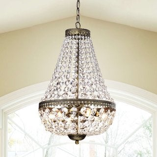 Link to Gracewood Hollow Poradeci Symmetric Crystal Antique Brushed Black Copper Chandelier Similar Items in Chandeliers