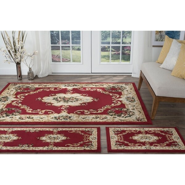 Shop Copper Grove Tunxis 3 Piece Red Traditional Area Rug Set On
