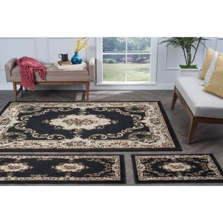 Alise Rugs Lagoon Traditional Floral Three Piece Set - 5' x 7'