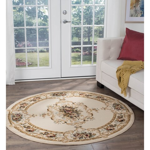 Copper Grove Tunxis Beige Traditional Area Rug - 5'3 Round