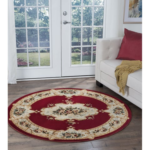 Copper Grove Tunxis Red Traditional Area Rug - 5'3 Round