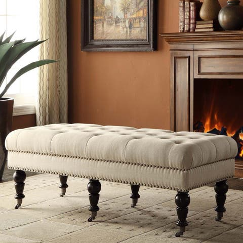 Copper Grove Ninemile 50-inch Francesca Cream Linen Tufted Bench with Espresso Legs