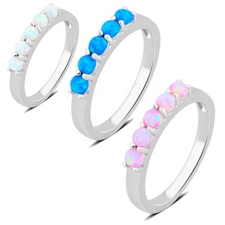 Divina Sterling Silver 5 stone Opal Wedding Ring