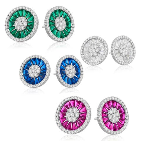 Divina Sterling Silver CZ and Created Gemstone Halo Cluster Earrings