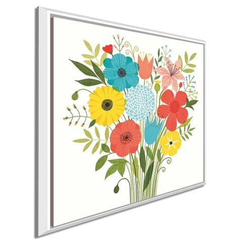 """Michael Mullan """"Seaside Bouquet I"""" Giclee Stretched Canvas Wall Art"""