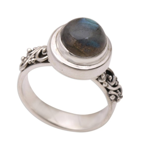 Handmade Magnificent Forest Sterling Silver Labradorite Ring (Indonesia). Opens flyout.