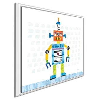 "Melissa Averinos ""Robot Party II on Squares"" Giclee Stretched Canvas Wall Art"