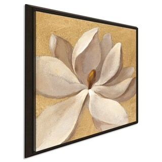 """Silvia Vassileva """"Sunset Flower I on Gold"""" Giclee Stretched Canvas Wall Art"""